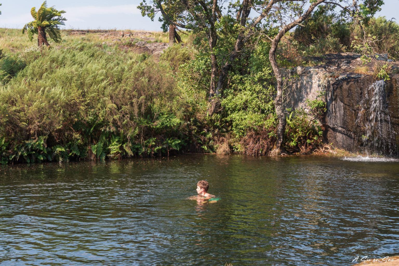 Raphaël dans les Mac Mac Pools dans la province du Mpumalanga aux portes du parc Kruger