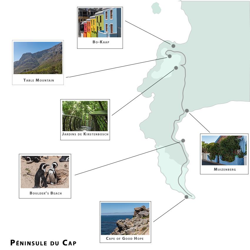 carte de la péninsule et de nos visites (visiter Cape town AFS)