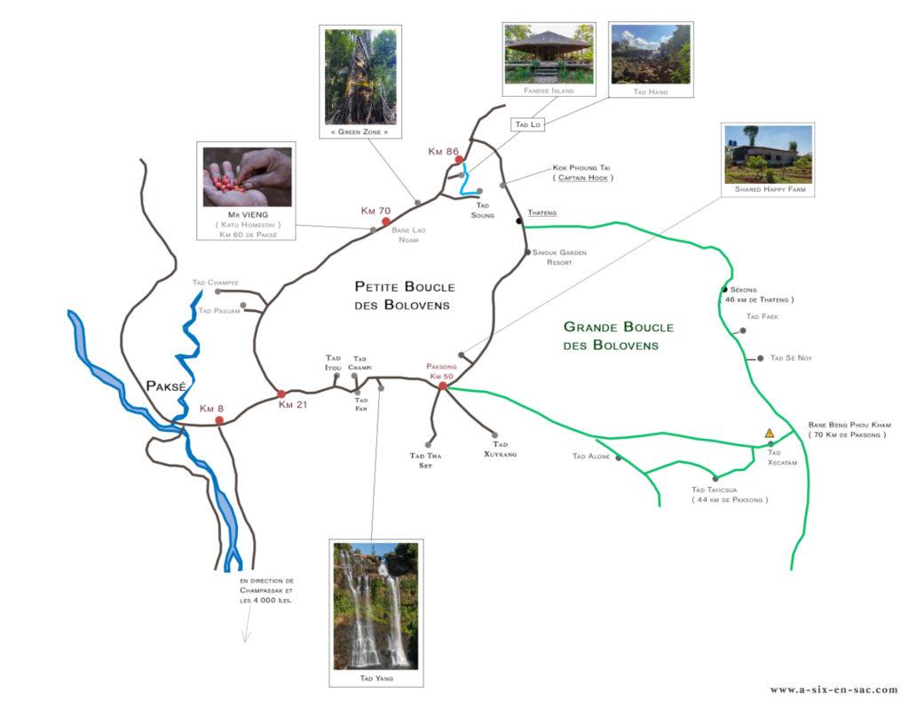 carte détaillée des boucles du plateau des Bolovens Laos