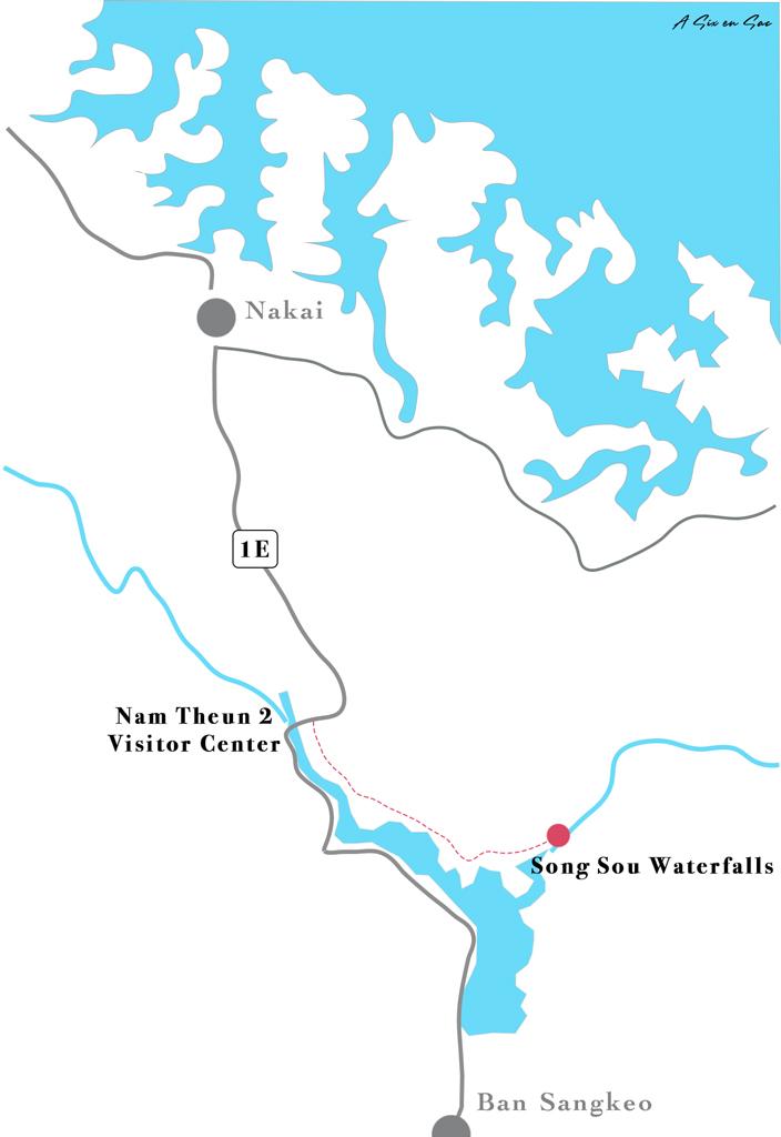 carte détaillée accès à la cascade de Song Sou sur la boucle de Thakhek