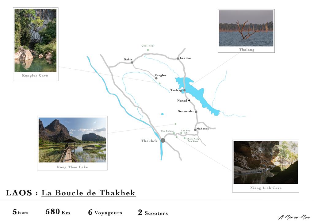 carte detaillée de la boucle de Thakhek au Laos