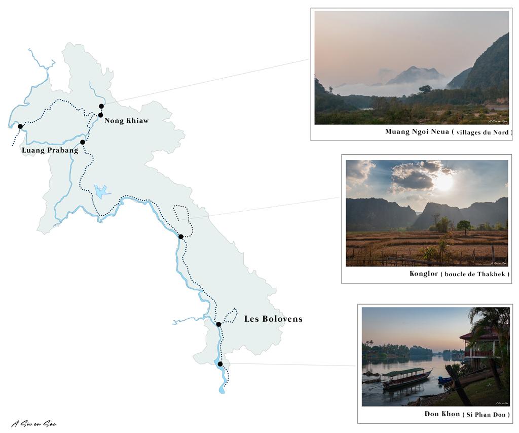 carte bilan pratique de nos 29 jours au Laos