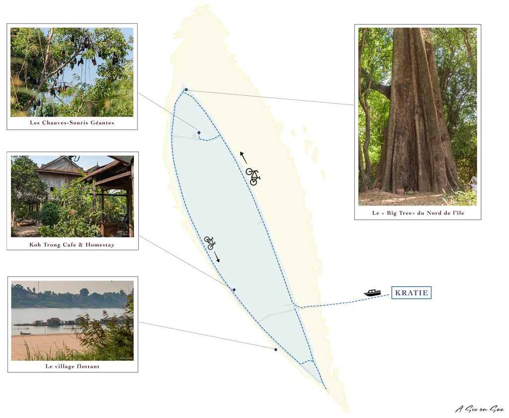 Carte détaillée Cambodge Kratie dauphins d'Irrawaddy