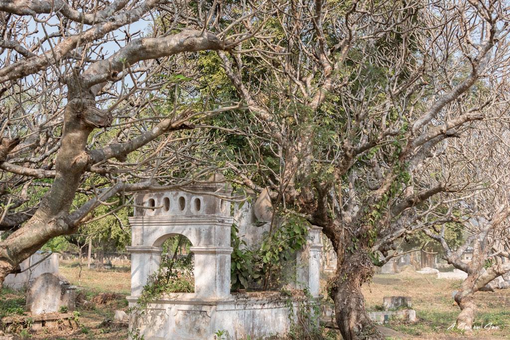 cimetière à la sortie de Hsipaw lors du premier jour de notre trek au Myanmar