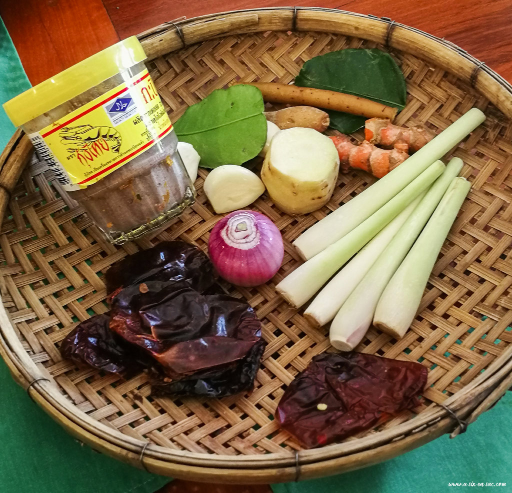 Ingrédients pour la préparation du Amok-Coconut Lyly-Battambang-Cambodge