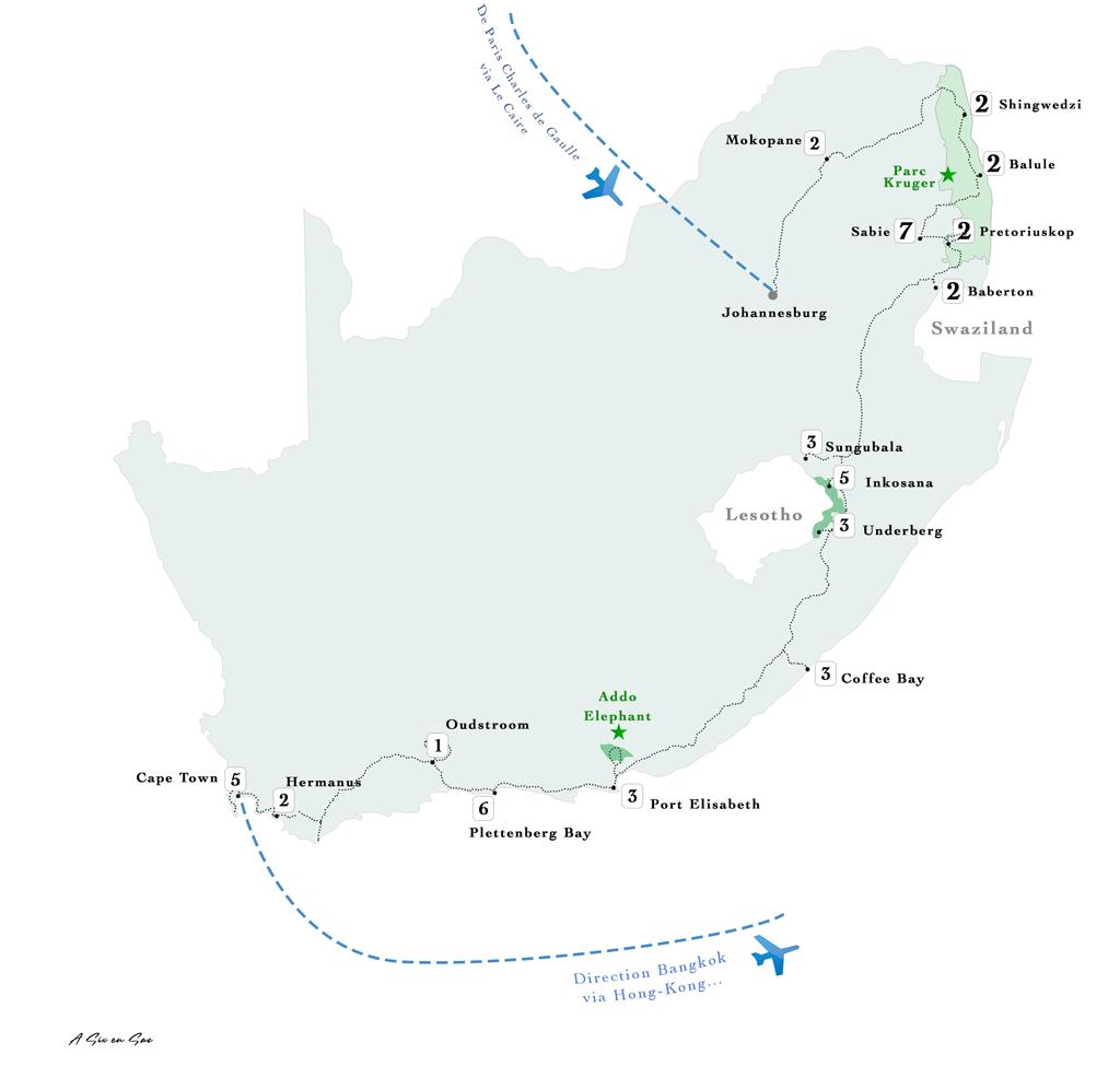 carte détaillée de noter itinéraire en Afrique du Sud bilan 49 jours TDM en famille