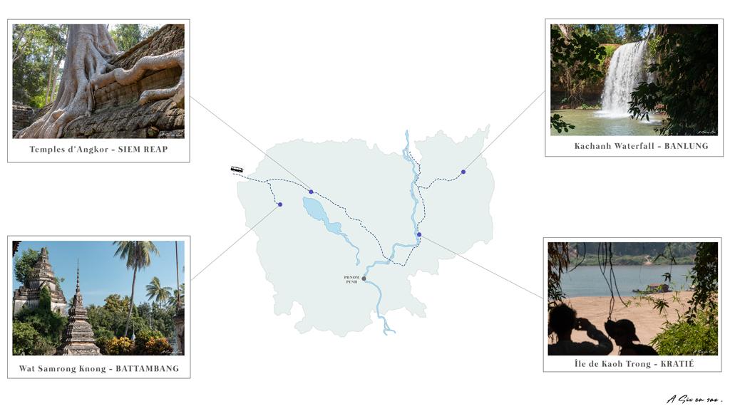 Carte des nos étapes au Cambodge : fiche pratique
